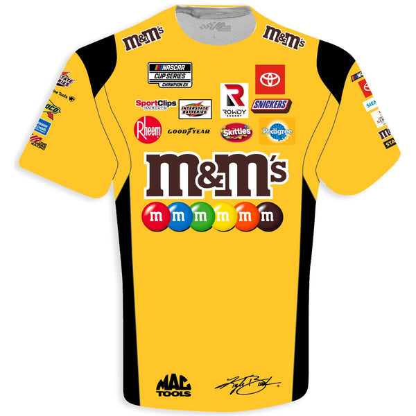 Kyle Busch 2021 M&M's Sublimated Uniform #18 NASCAR T-Shirt Yellow