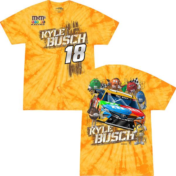 Kyle Busch 2021 M&M's Tie Dye Car #18 NASCAR T-Shirt Yellow