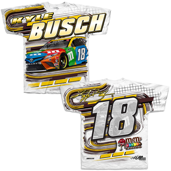 Kyle Busch 2021 M&M's Total Print #18 NASCAR T-Shirt White