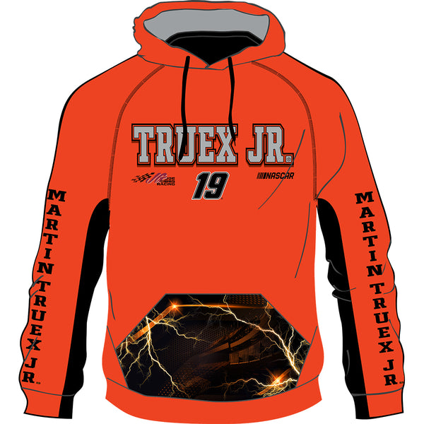 Martin Truex Jr 2020 Sublimated #19 NASCAR Performance Hoodie Orange