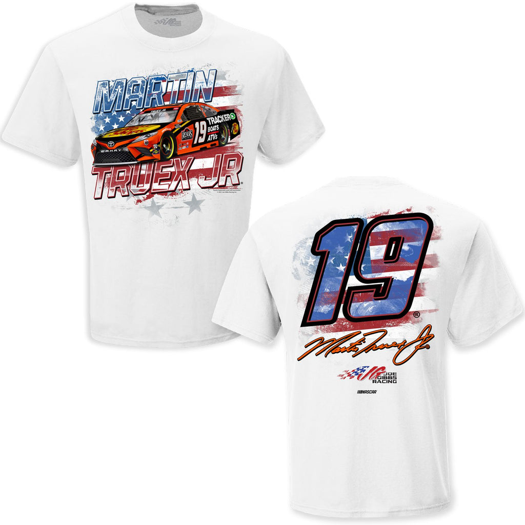 Martin Truex Jr 2021 Bass Pro Shops Old Glory #19 NASCAR T-Shirt White