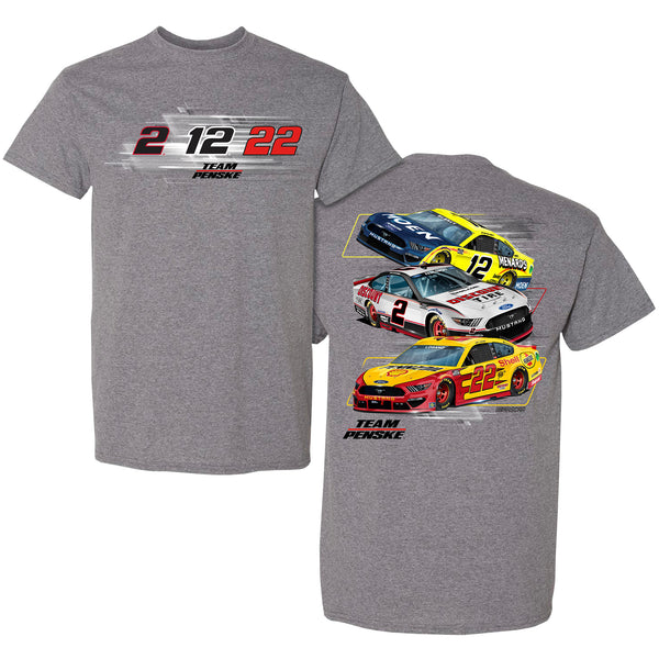 Team Penske 2021 3-Car Team NASCAR T-Shirt Gray