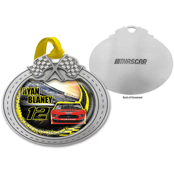 Ryan Blaney 2020 Car Pewter Metal Menards #12 NASCAR Christmas Ornament