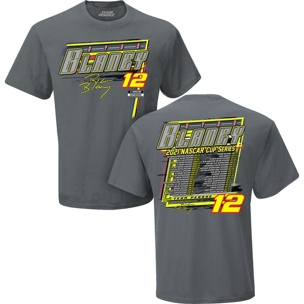 Ryan Blaney 2021 NASCAR Cup Series #12 Schedule T-Shirt