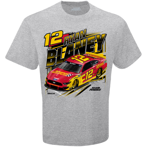 Ryan Blaney 2021 Advance Auto Parts Competition #12 NASCAR T-Shirt Gray