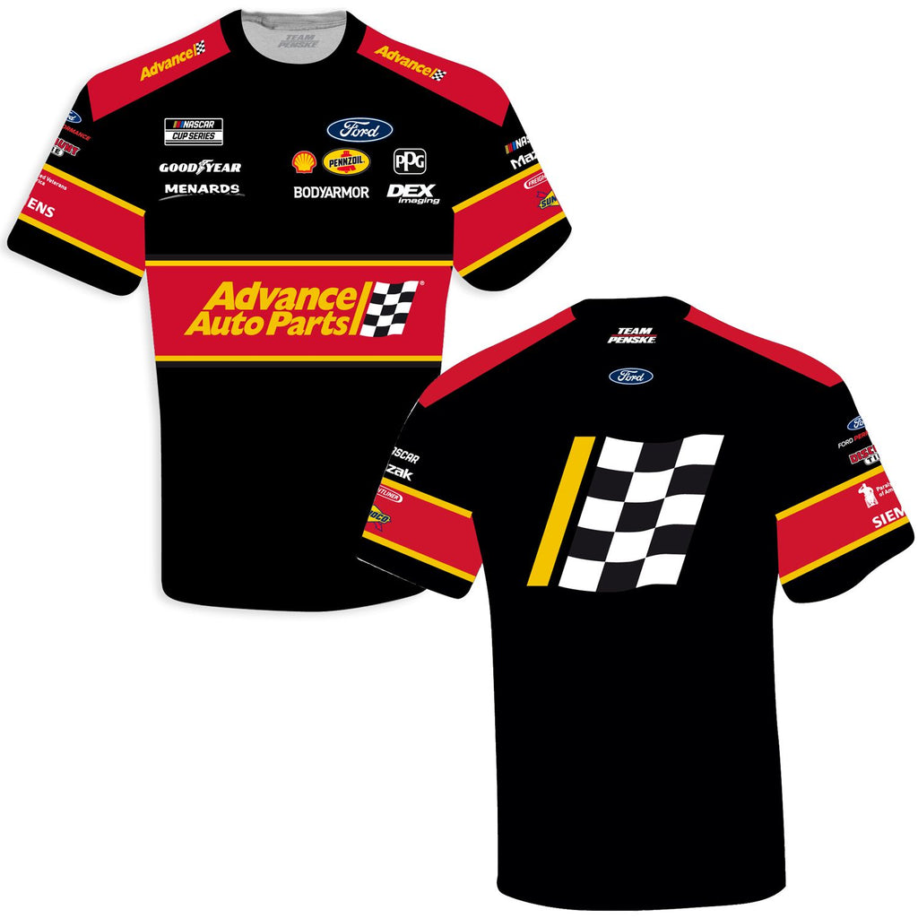 Ryan Blaney 2021 Advance Auto Parts Sublimated Uniform #12 NASCAR T-Shirt Black