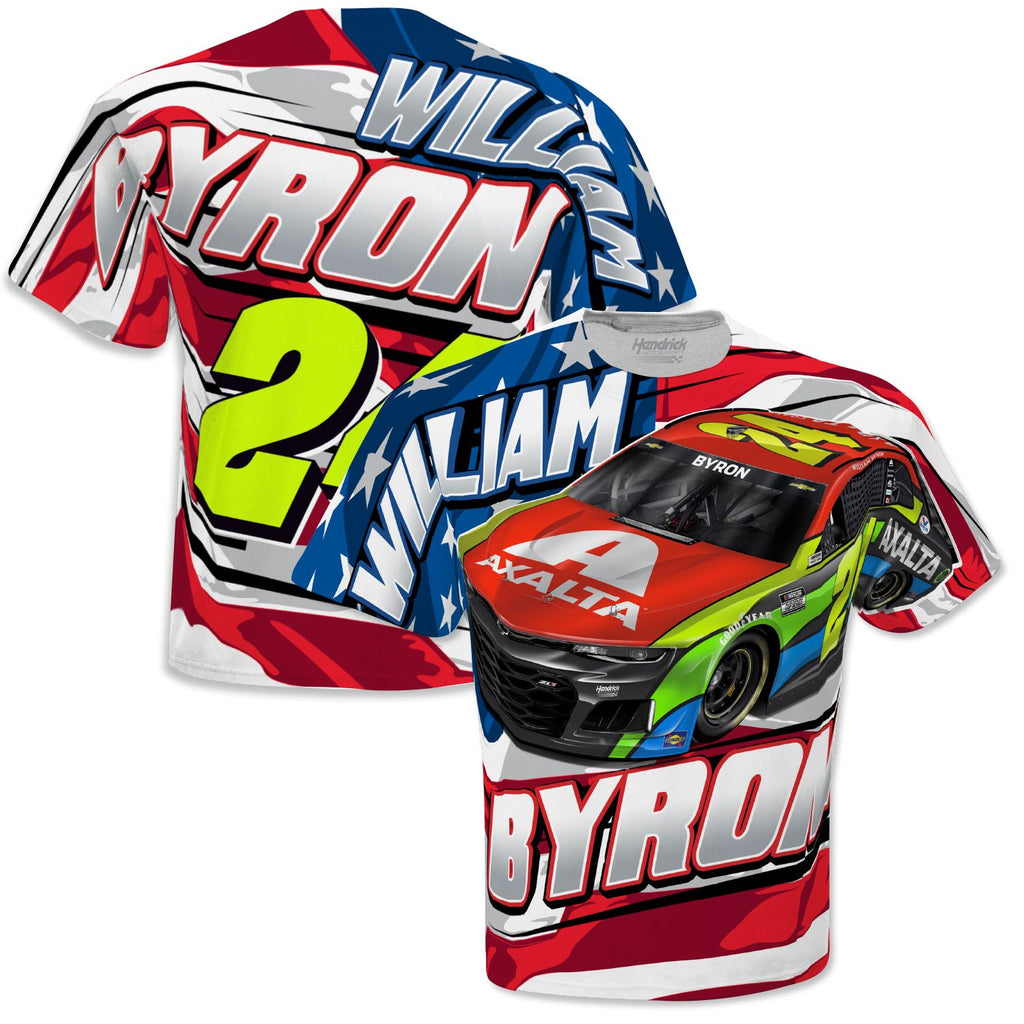 William Byron 2021 Axalta Patriotic Sublimated #24 NASCAR Total Print T-Shirt