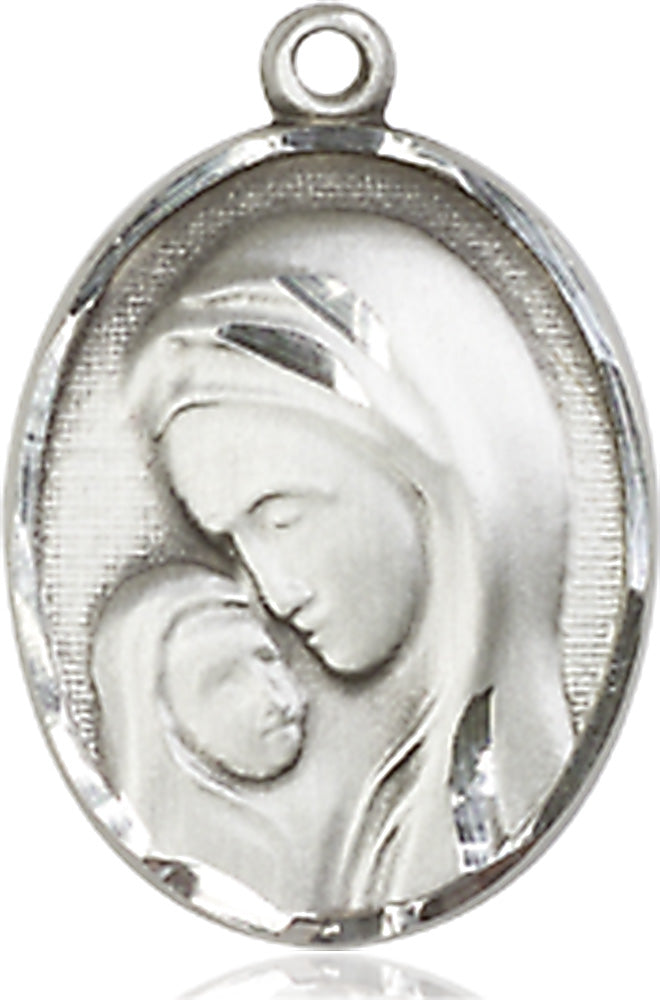 Sterling silver pendant with Madonna and a child with light rhodium curb chain
