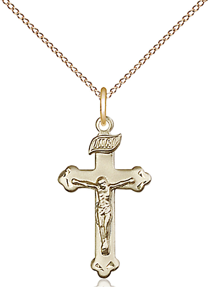 14 karat gold-filled pendant with crucifix and lite curb chain