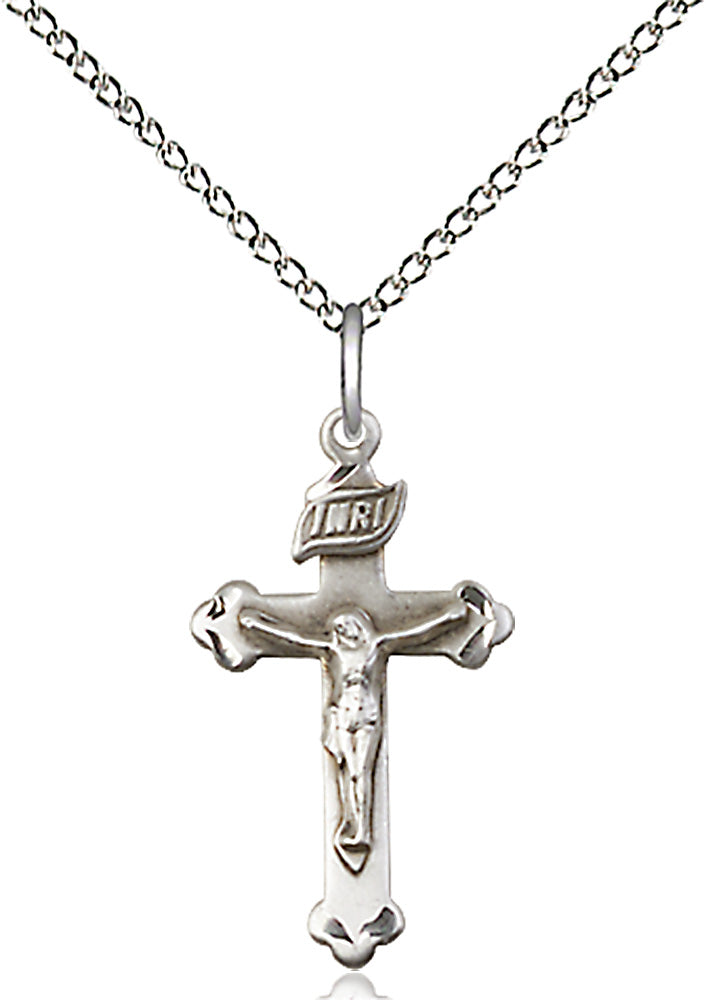 Sterling silver pendant with crucifix and sterling silver lite curb chain