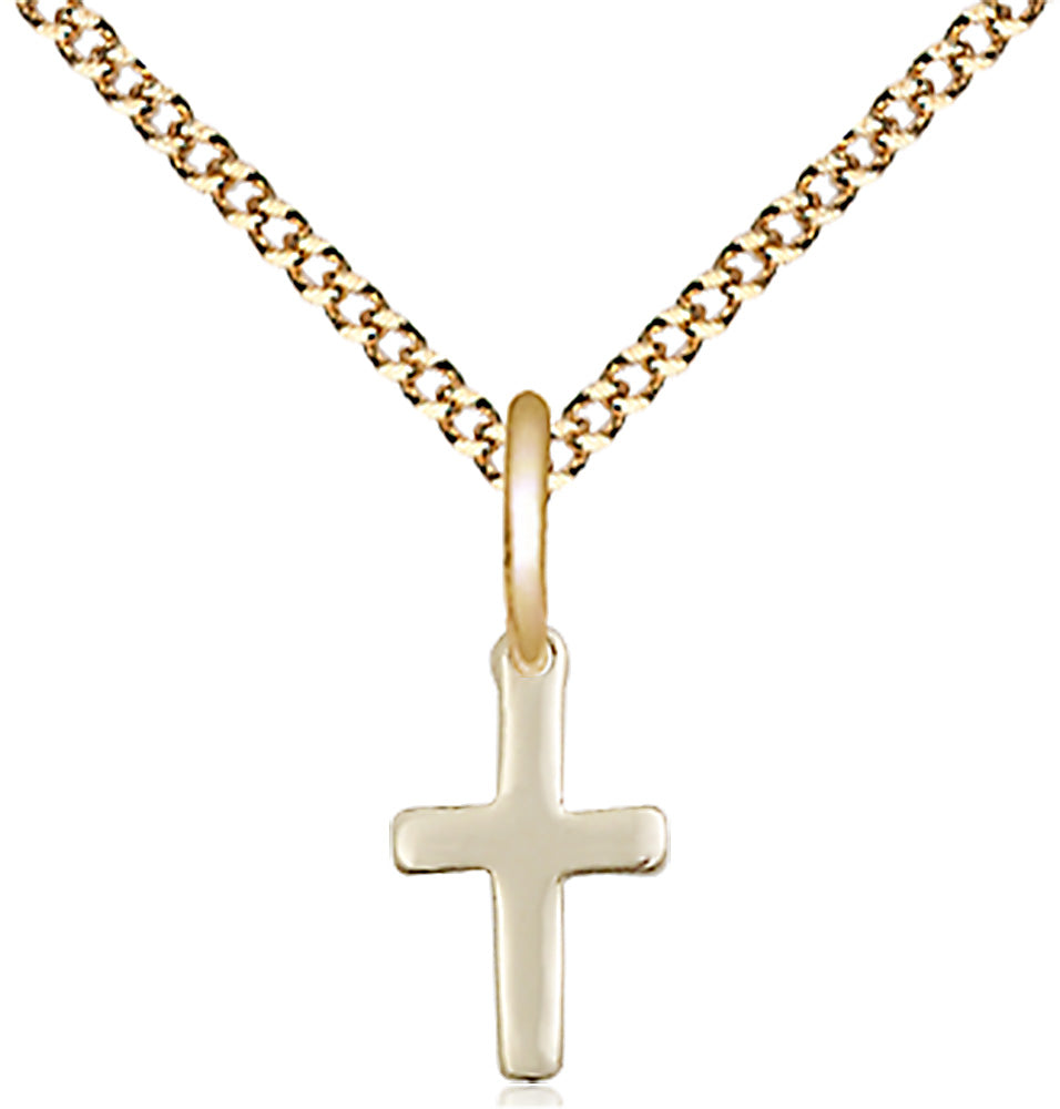 14 karat gold-filled pendant with cross and gold plated light curb chain