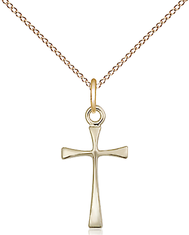 14 karat gold-filled Maltese Cross Pendant with 18 inch gold plate curb chain
