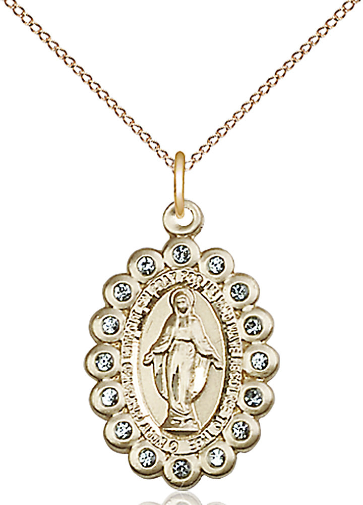 14 karat gold-filled miraculous pendant with gold plated heavy curb chain