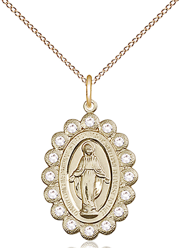 14 karat gold-filled miraculous pendant with gold-plated heavy curb chain