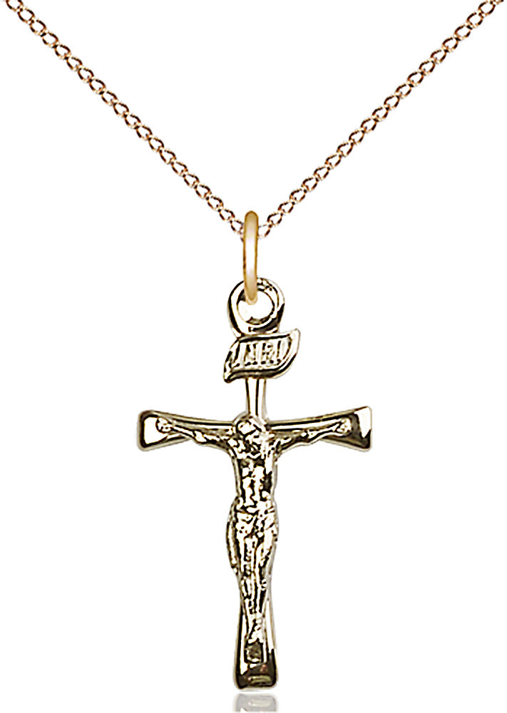 14kt Gold Filled Maltese Crucifix Pendant with 18 inch gold plate curb chain