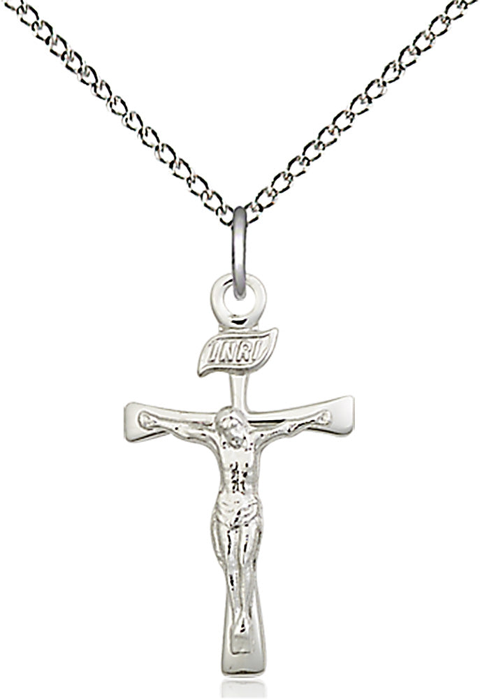 Sterling Silver Maltese Crucifix Pendant with light rhodium curb chain