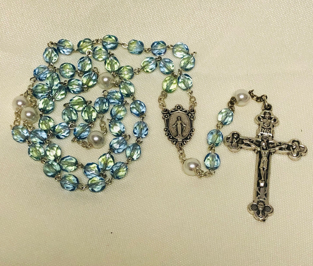 Blue Glass Pearl Rosary