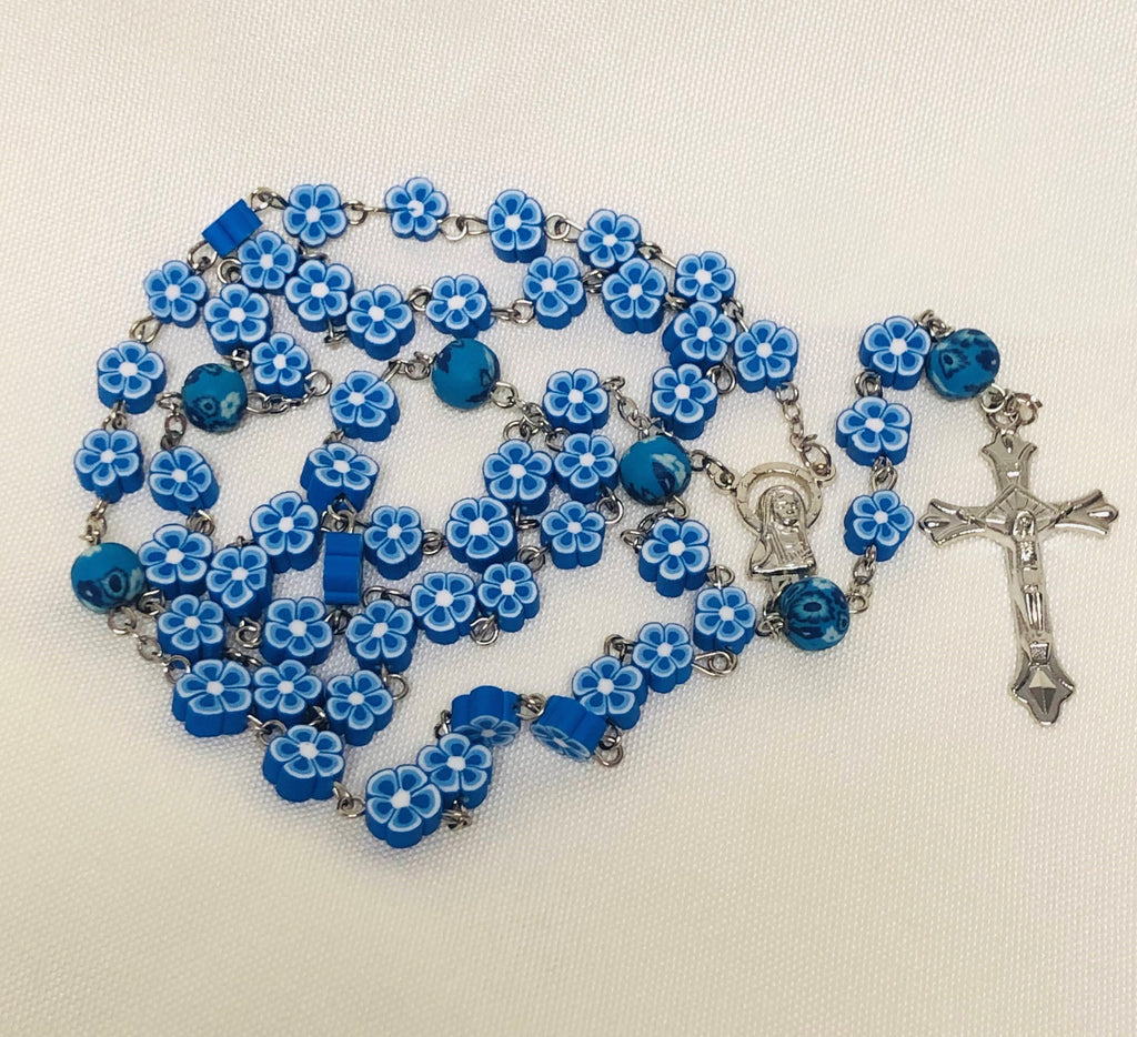 Floral Blue Rosary