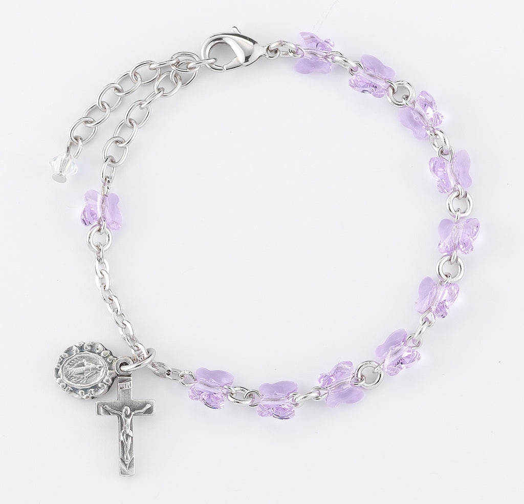 Butterfly Crystal Rosary Bracelet Created with 6mm Swarovski Crystal Violet Butterfly Beads by HMH