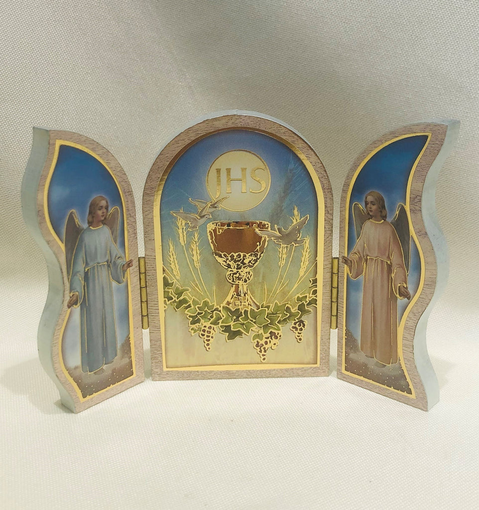Communion White Wood Triptych