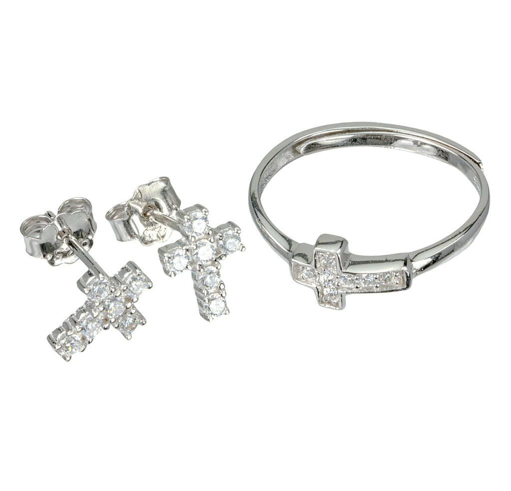 Sterling Silver Cubic Zirconia Cross Earring and Ring Set