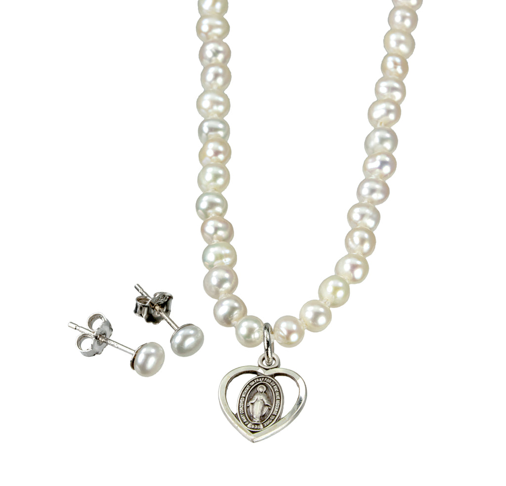 Freshwater Pearl Miraculous Necklace and Earring Set