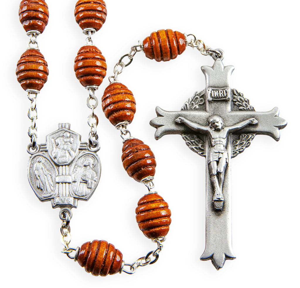 Brown Beehive Boxwood New England Pewter Rosary