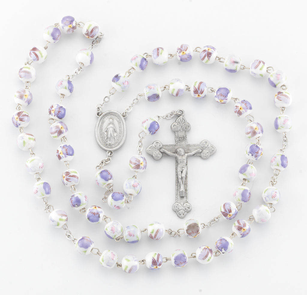 White and Lavender Glass Flower Bead New England Pewter Rosary