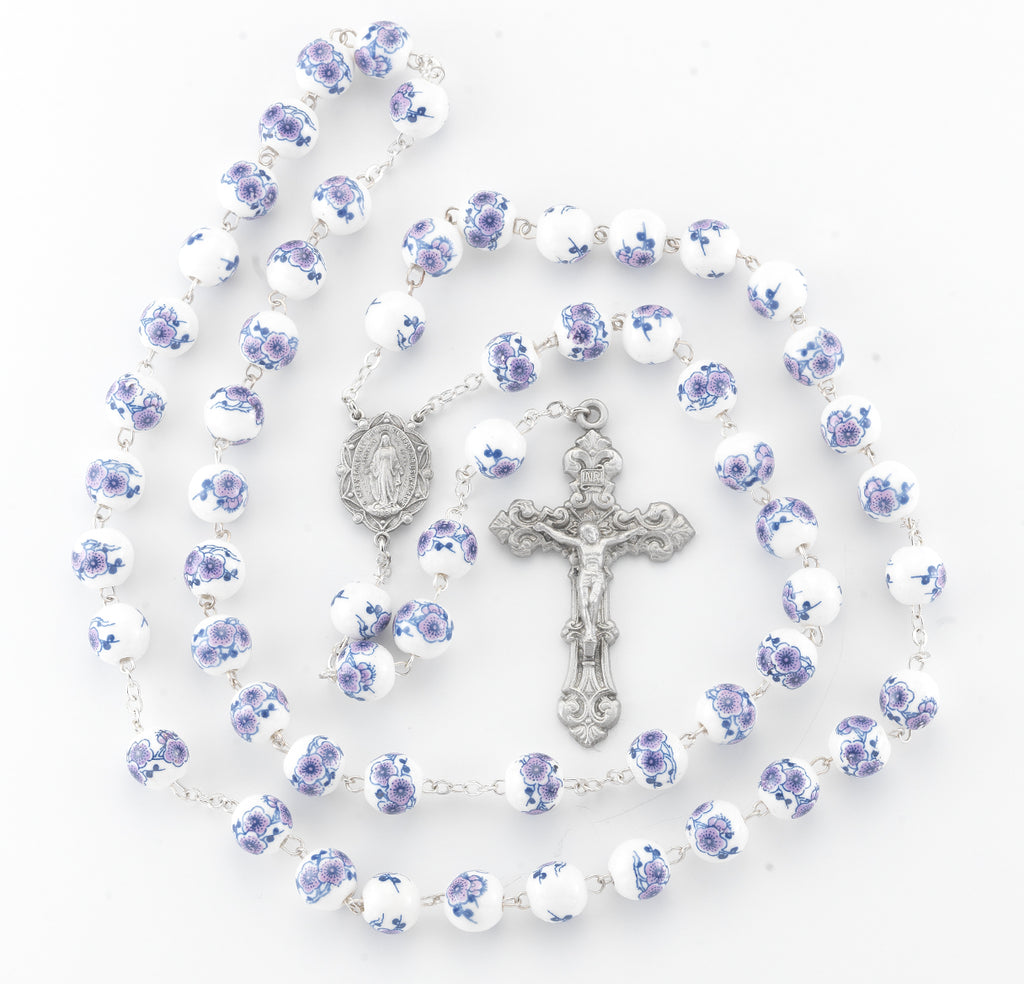 White and Violet Glass Flower Bead New England Pewter Rosary