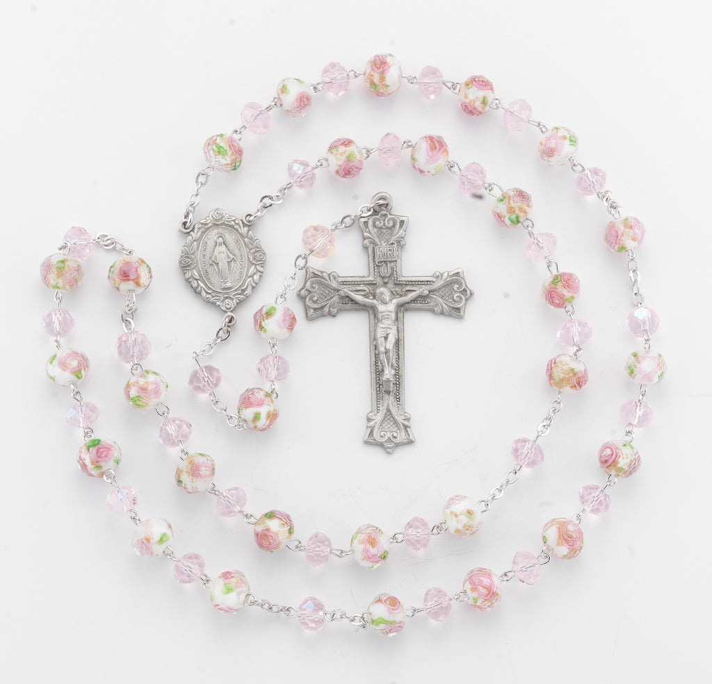 White and Pink Glass Flower Bead New England Pewter Rosary