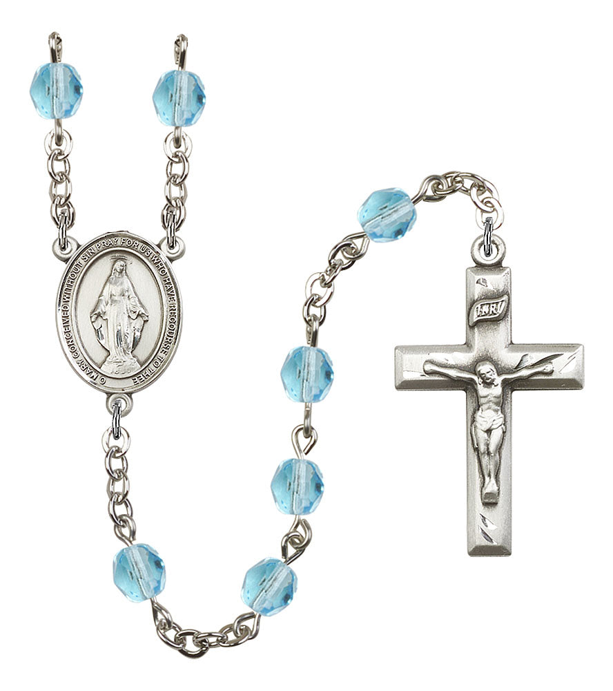 6mm Aqua Fire Polished Rosary