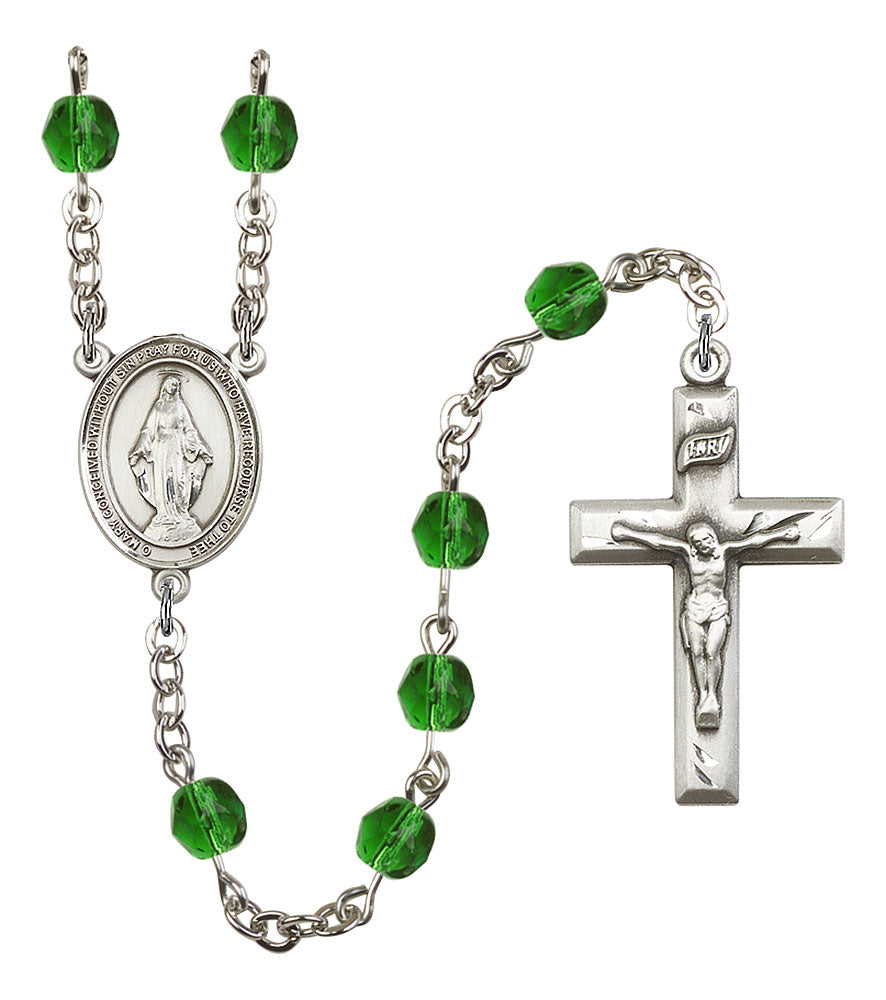 6mm Emerald Fire Polished Rosary