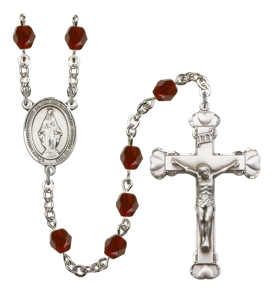 6mm Garnet Fire Polished Rosary