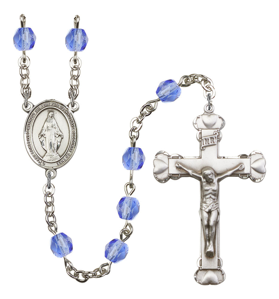 6mm Sapphire Fire Polished Rosary