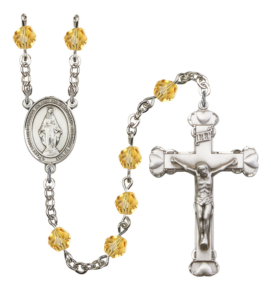 6mm Topaz Fire Polished Rosary