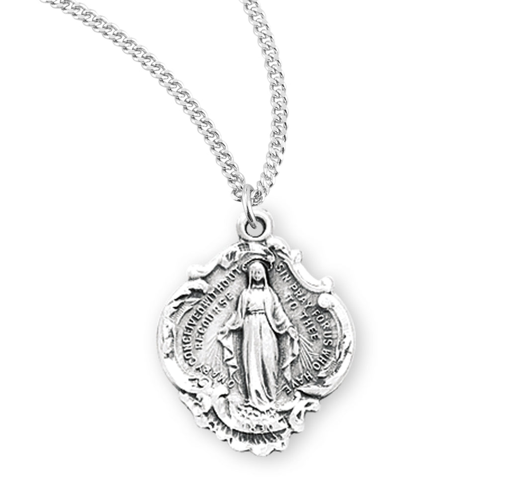 Sterling Silver Fancy Baroque Style Miraculous Medal