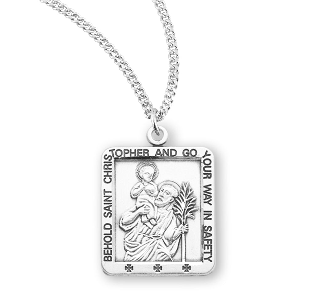 Saint Christopher Square Sterling Silver Medal