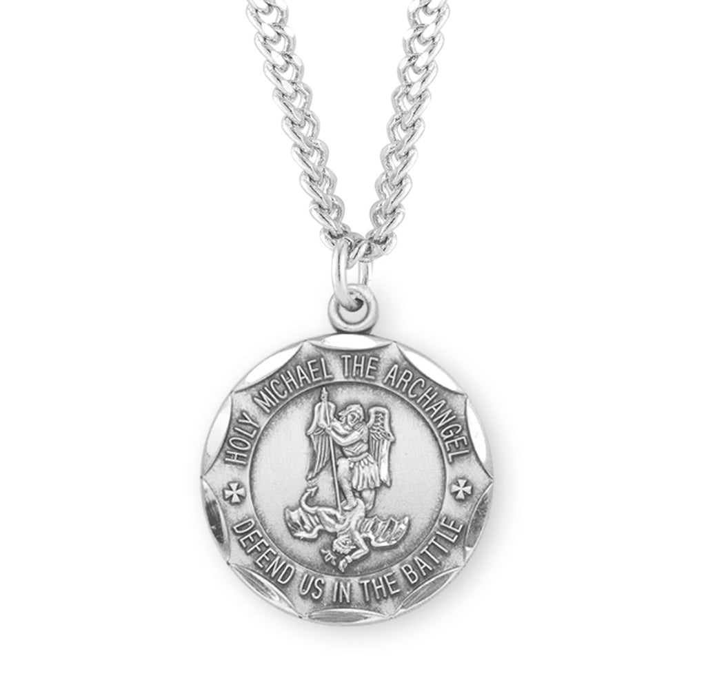 Saint Michael Round Sterling Silver Military Medal