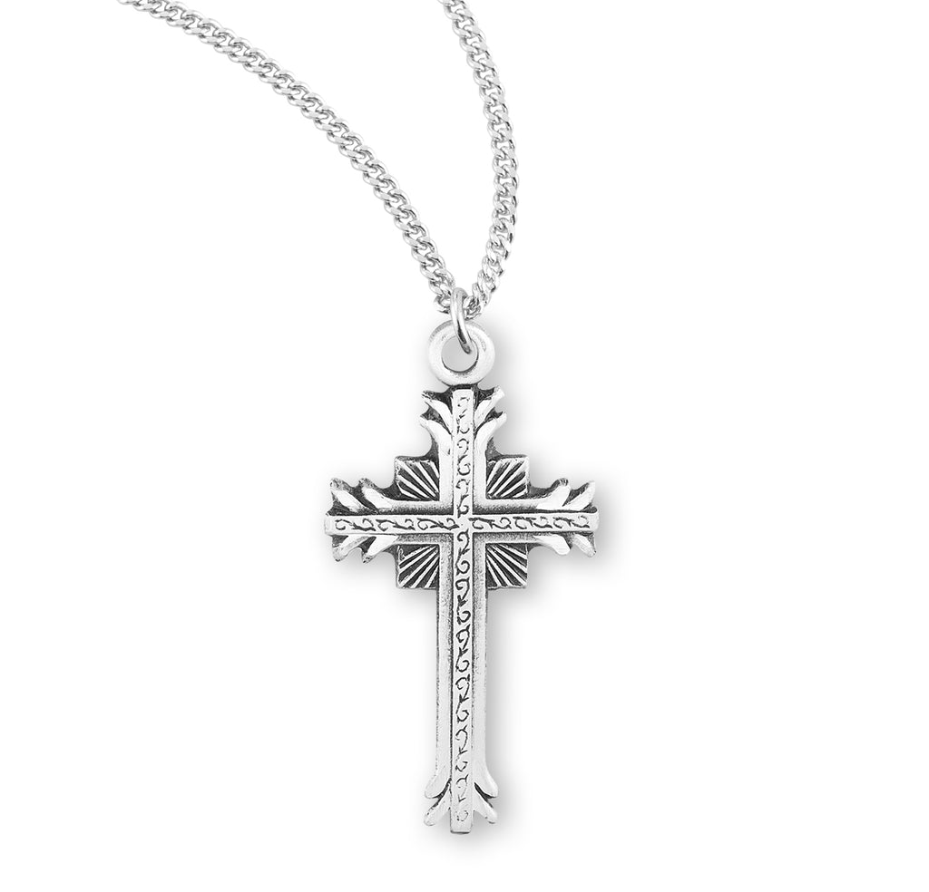 Sterling Silver Flare Tipped Cross with a Scrolled Center