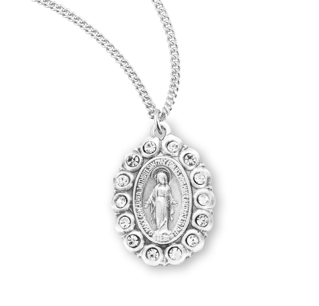 Sterling Silver Oval Miraculous Medal Set with Clear Crystals