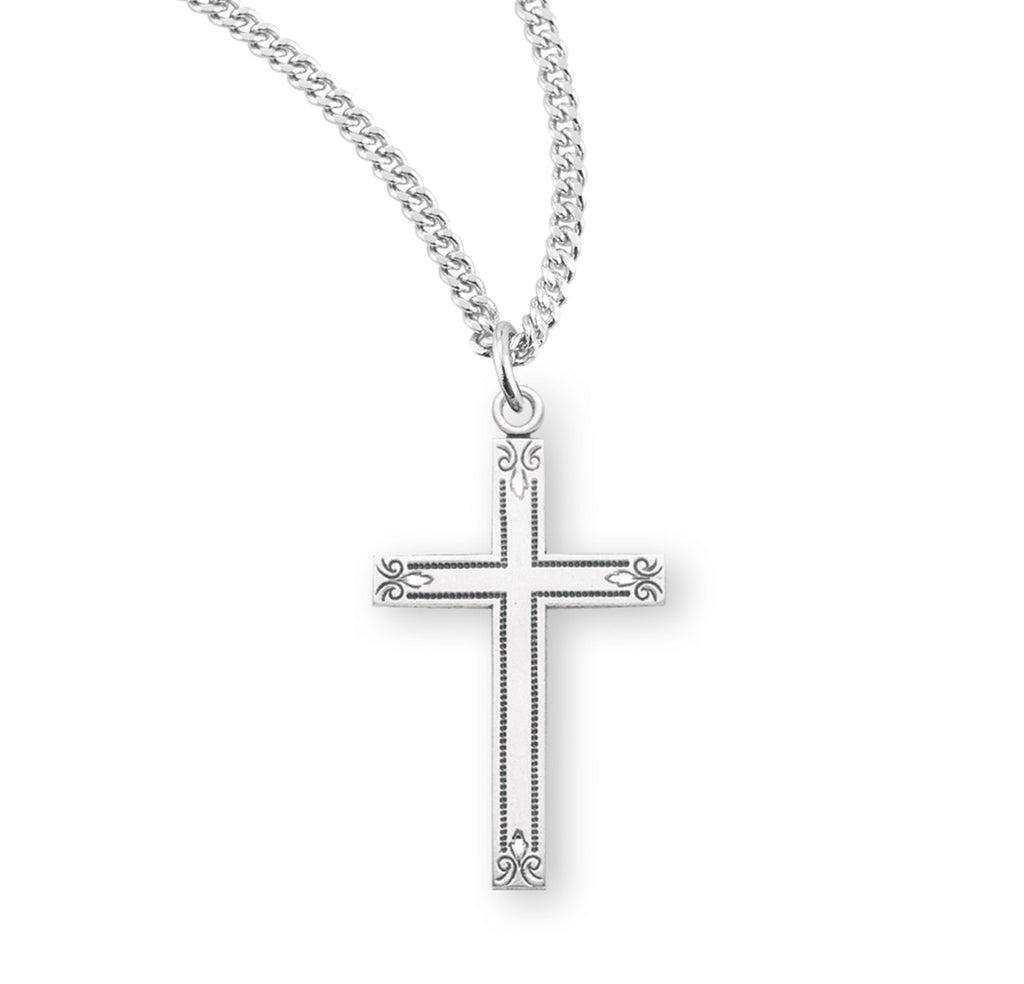 Sterling Silver Flower Tipped Cross