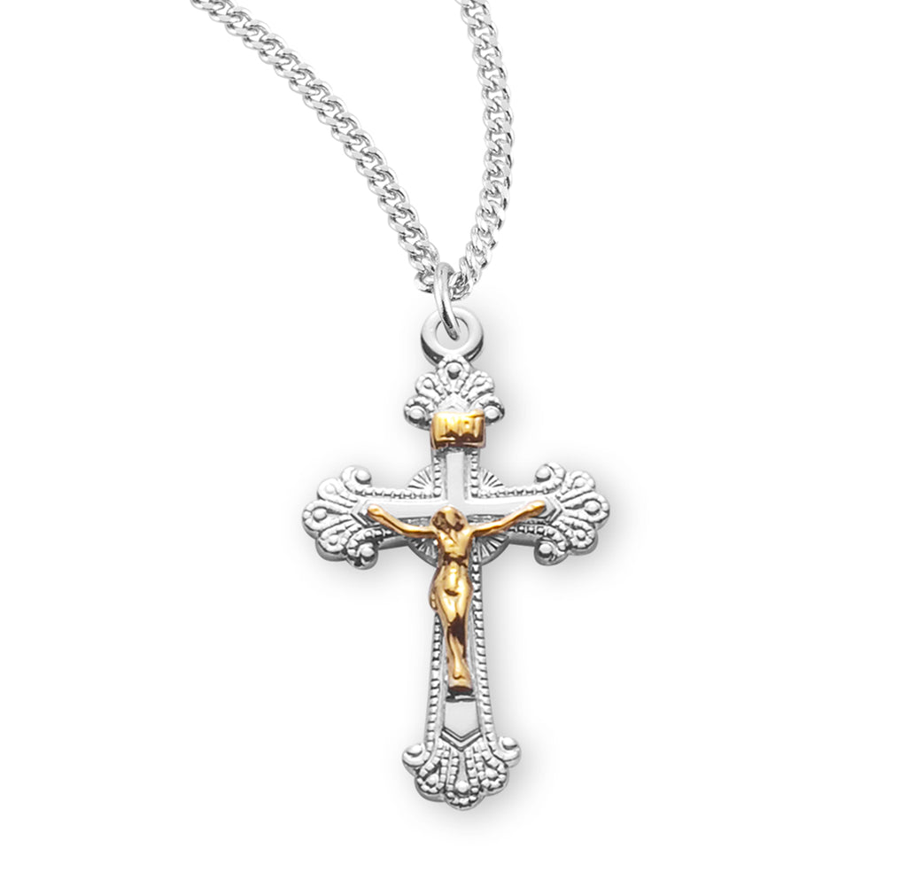 Two Toned Fancy Engraved Sterling Silver Crucifix