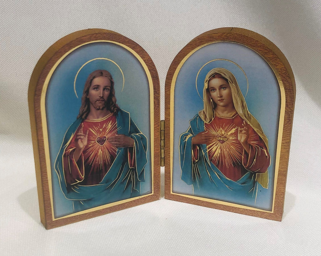 Sacred Heart and Immaculate Heart Diptych