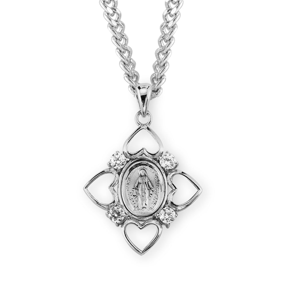 Sterling Silver Crystal Miraculous Medal