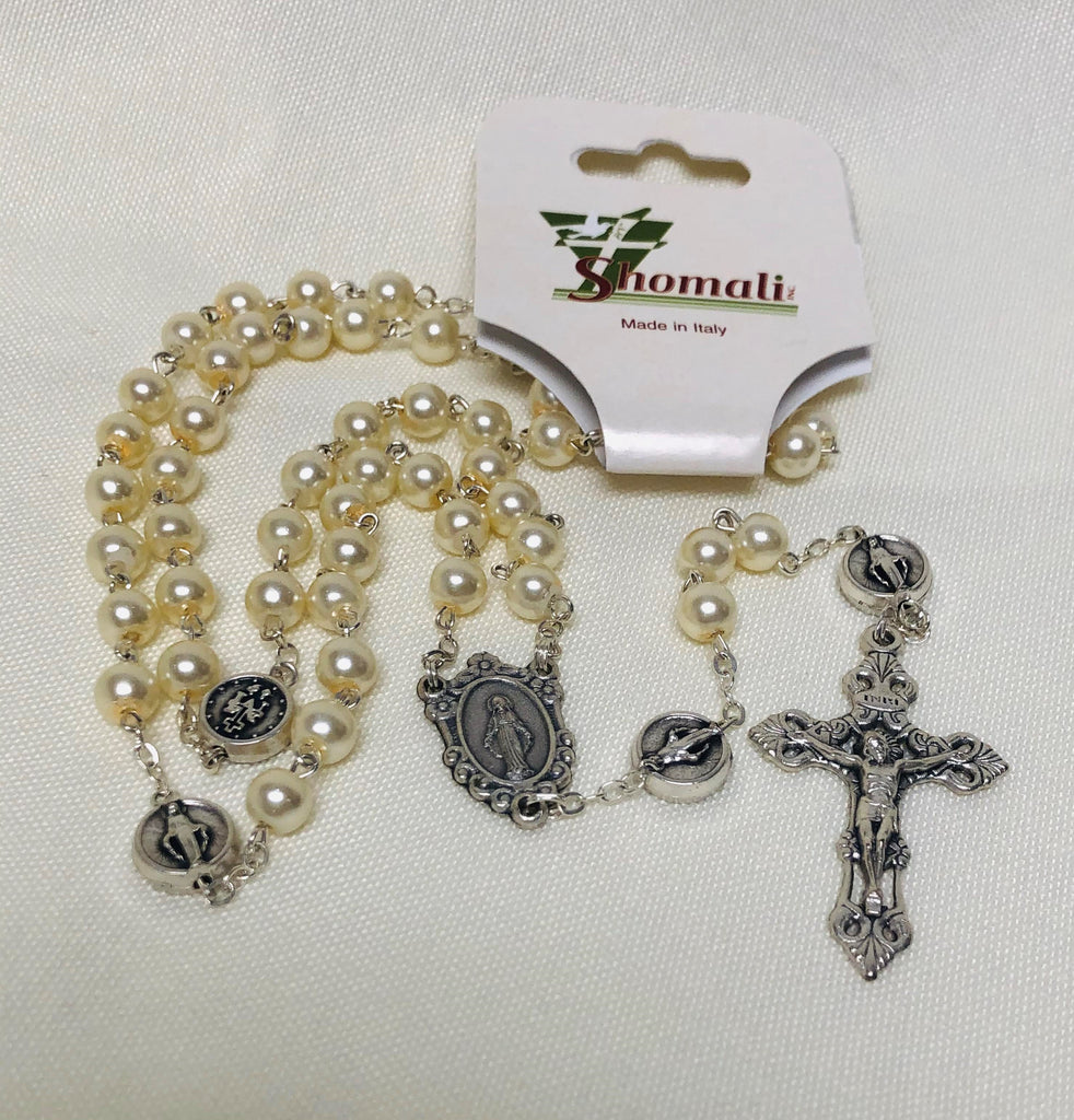 Cream Miraculous Medal Rosary