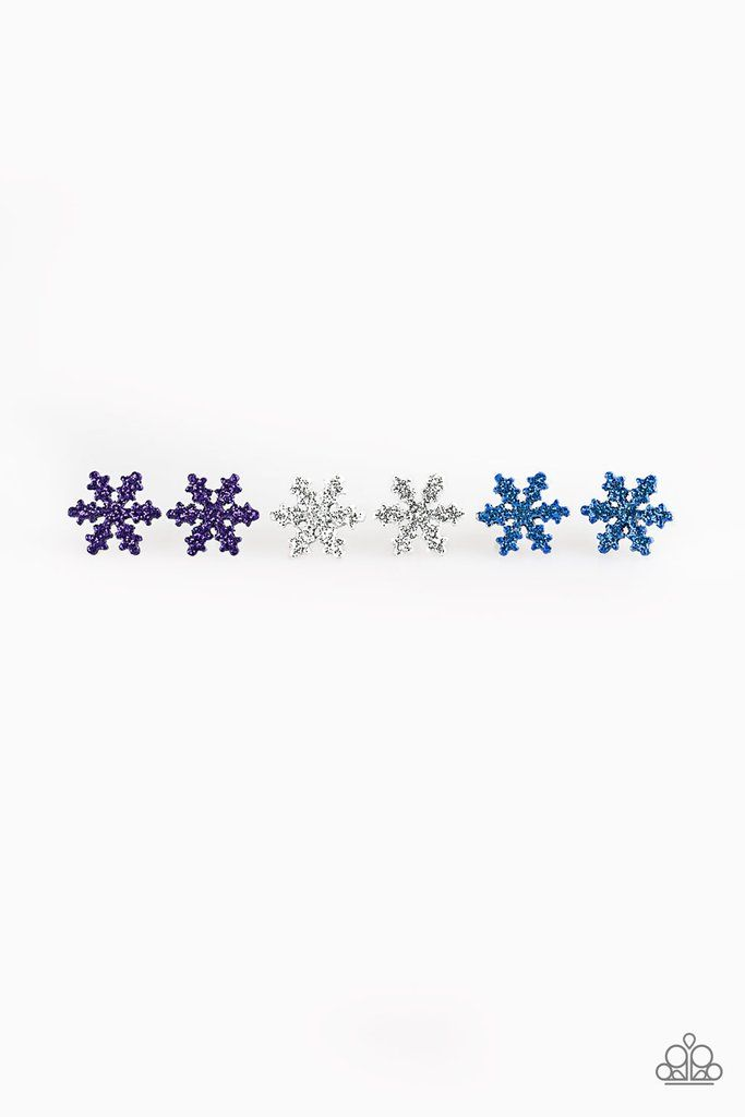 Paparazzi Starlet Shimmer Sparkle Snowflake Earrings - Bling It On Online