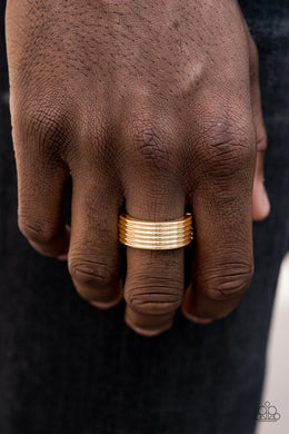 Paparazzi A Mans Man - Stacked Linear Textured Gold Band Ring - Bling It On Online