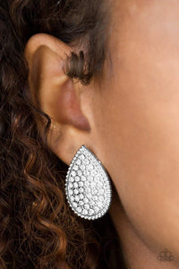 Paparazzi A Run For Their Money - White Earrings - Bling It On Online