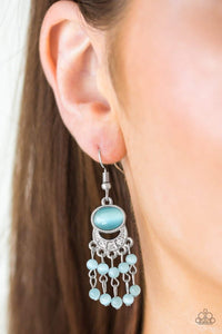 Paparazzi A Spring State Of Mind - Blue Moonstone White Rhinestone Encrusted Bowing Silver Frame Earrings - Bling It On Online