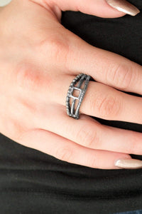 Paparazzi A Square Deal - Airy Square Center Textured Gunmetal Ring - Bling It On Online